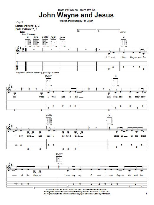 Tablature guitare John Wayne And Jesus de Pat Green - Tablature guitare facile