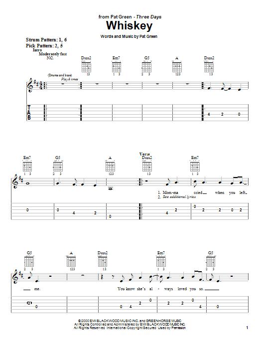 Tablature guitare Whiskey de Pat Green - Tablature guitare facile