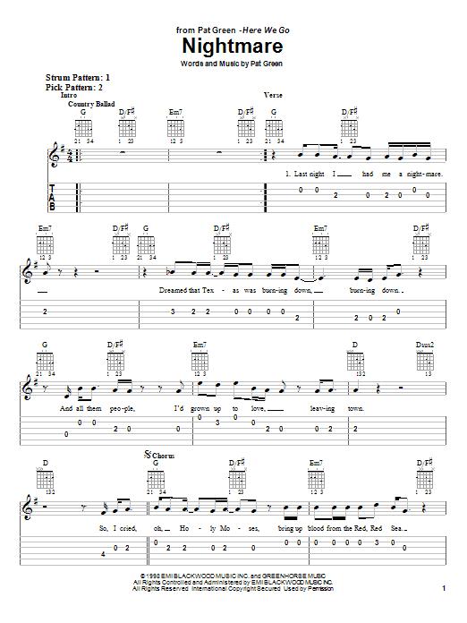 Tablature guitare Nightmare de Pat Green - Tablature guitare facile
