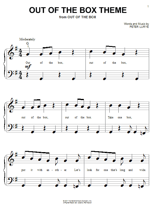 Partition piano Out Of The Box Theme de Peter Lurye - Piano Facile