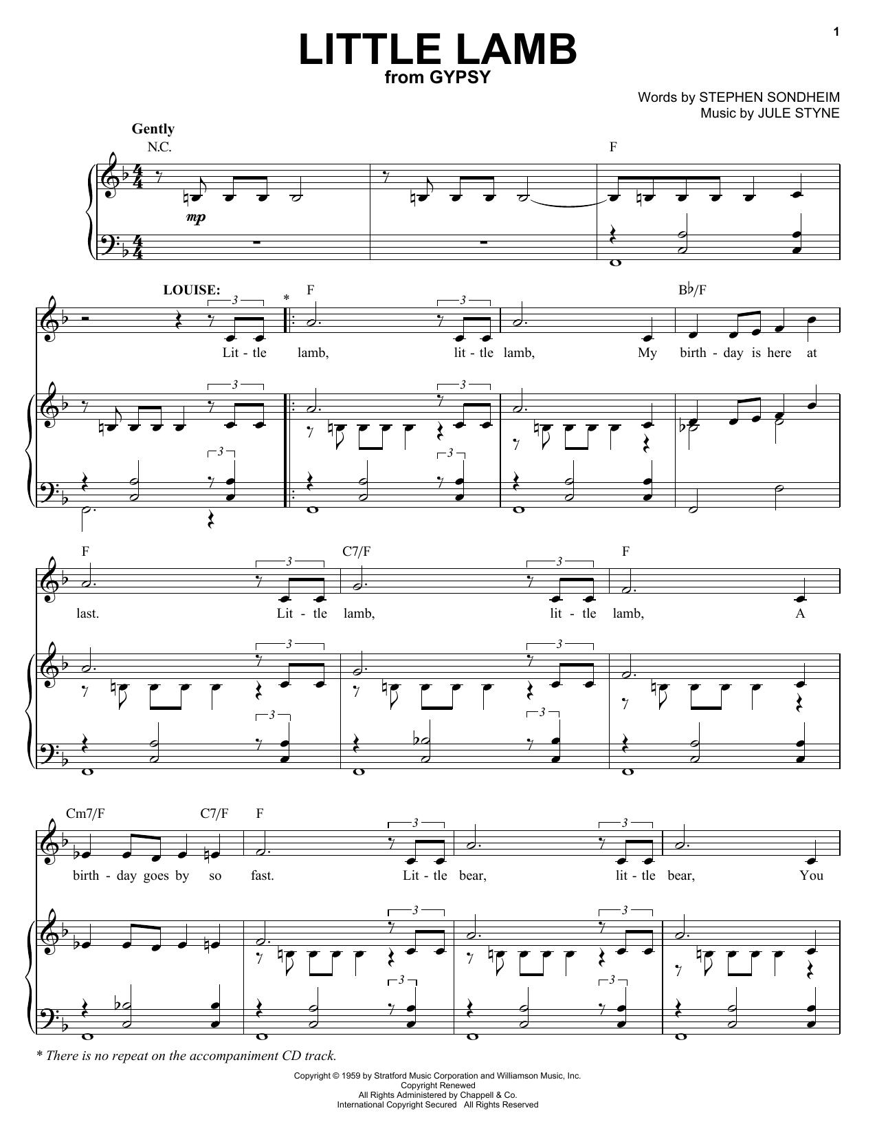 Partition piano Little Lamb de Stephen Sondheim - Piano Voix