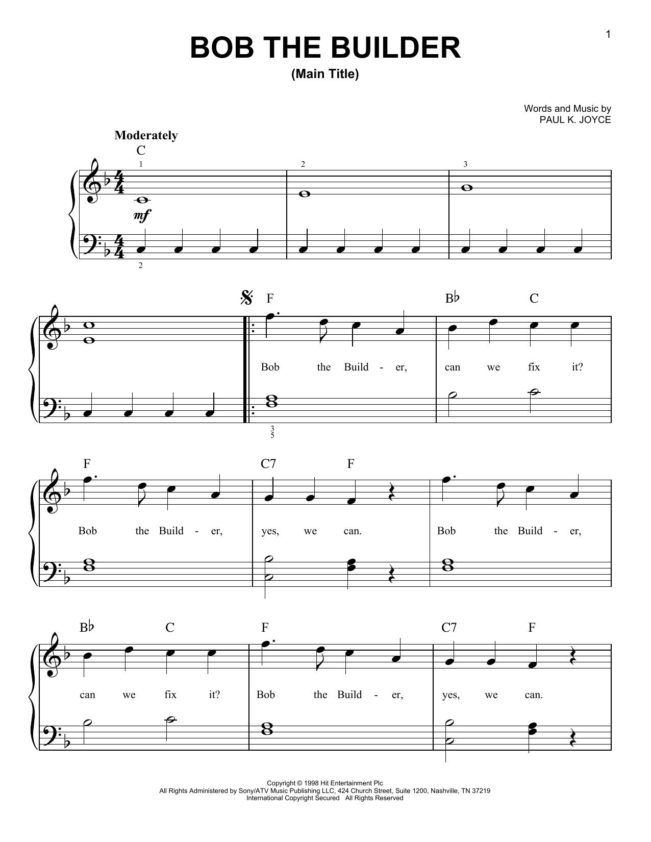 Partition piano Bob The Builder Intro Theme Song de Paul Joyce - Piano Facile