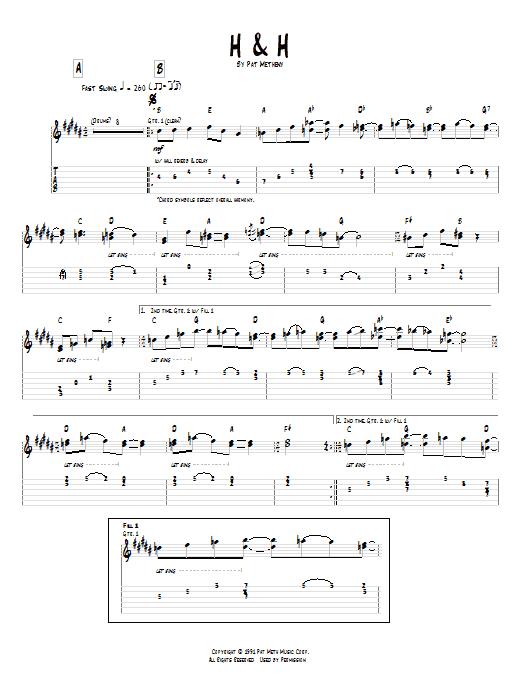 Tablature guitare H & H de Pat Metheny - Tablature Guitare