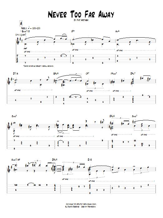 Tablature guitare Never Too Far Away de Pat Metheny - Tablature Guitare