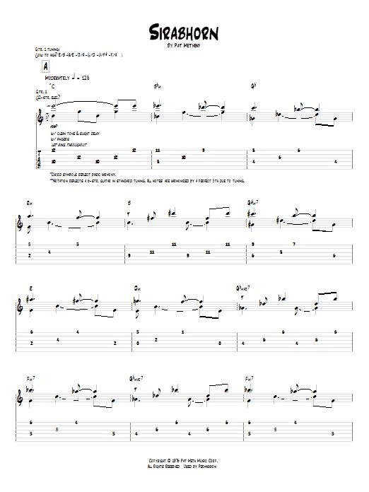 Tablature guitare Sirabhorn de Pat Metheny - Tablature Guitare