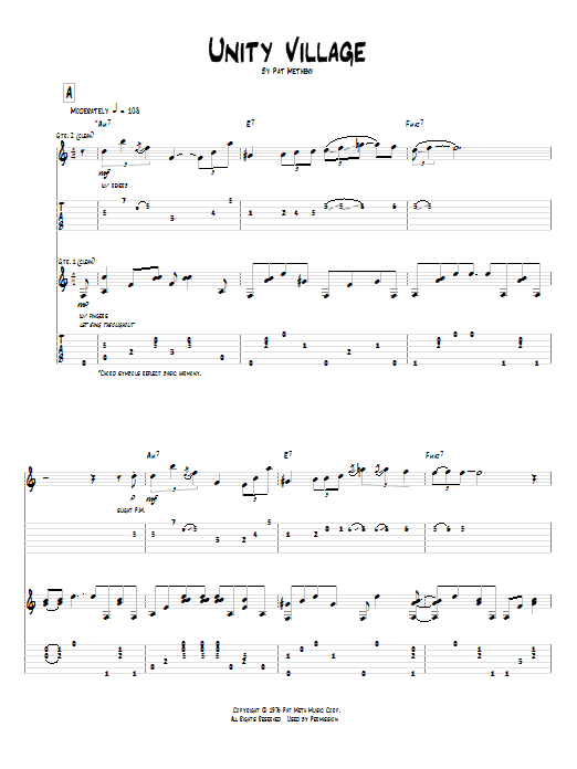 Tablature guitare Unity Village de Pat Metheny - Tablature Guitare
