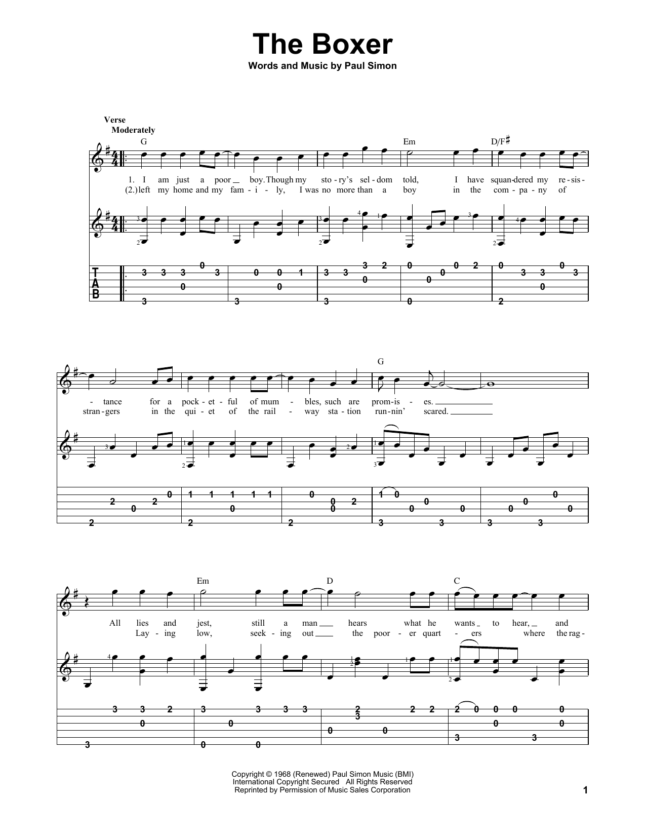 Tablature guitare The Boxer de Simon & Garfunkel - Tablature Guitare
