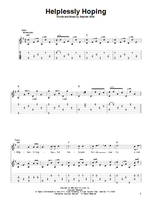 Tablature guitare Helplessly Hoping de Crosby, Stills and Nash - Tablature Guitare