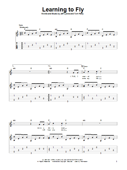 Tablature guitare Learning To Fly de Tom Petty And The Heartbreakers - Tablature Guitare