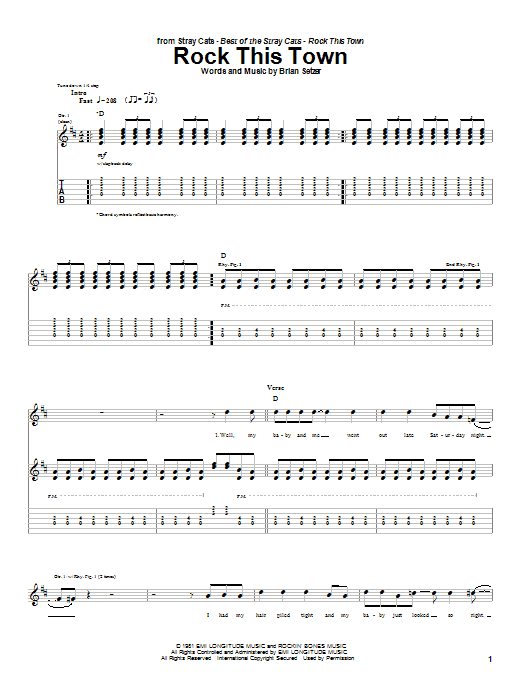 Rock This Town sheet music for guitar solo (tablature) by Stray Cats