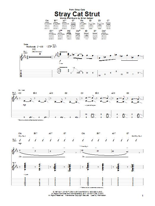 Tablature guitare Stray Cat Strut de The Stray Cats - Tablature Guitare