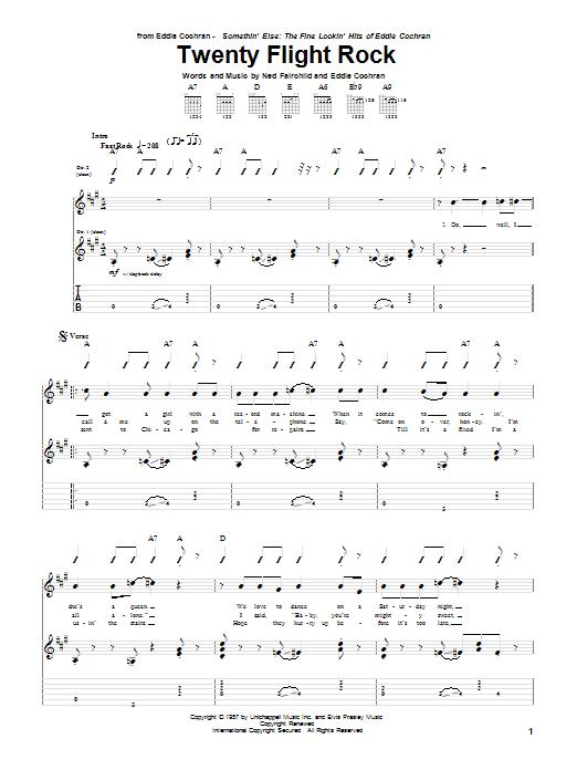 Tablature guitare Twenty Flight Rock de Eddie Cochran - Tablature Guitare