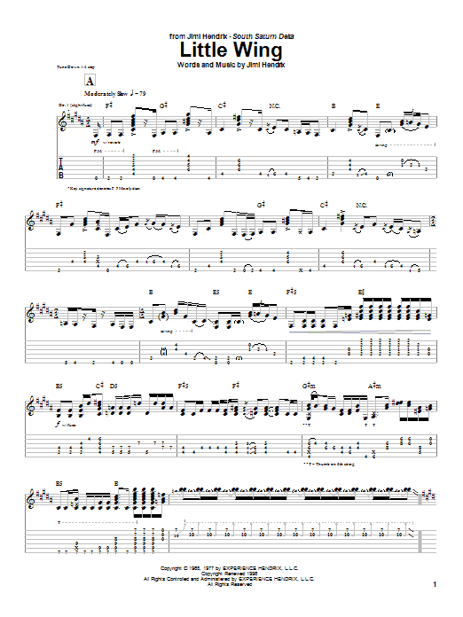 Tablature guitare Little Wing (Instrumental Version) de Jimi Hendrix - Tablature Guitare