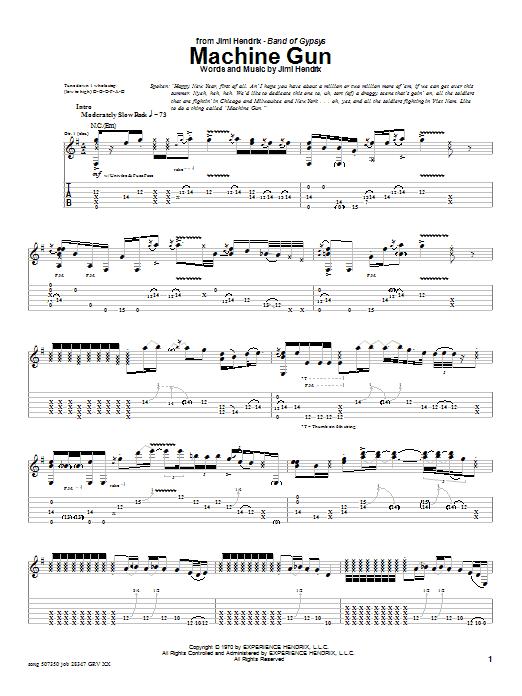 Tablature guitare Machine Gun (Live) de Jimi Hendrix - Tablature Guitare