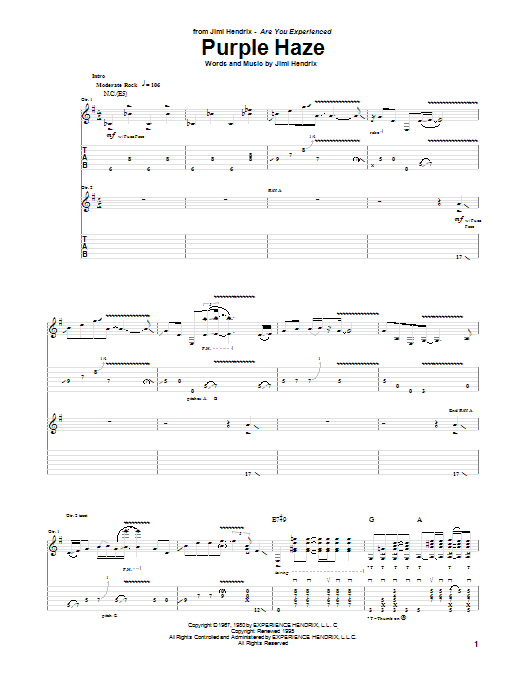 Tablature guitare Purple Haze de Jimi Hendrix - Tablature Guitare