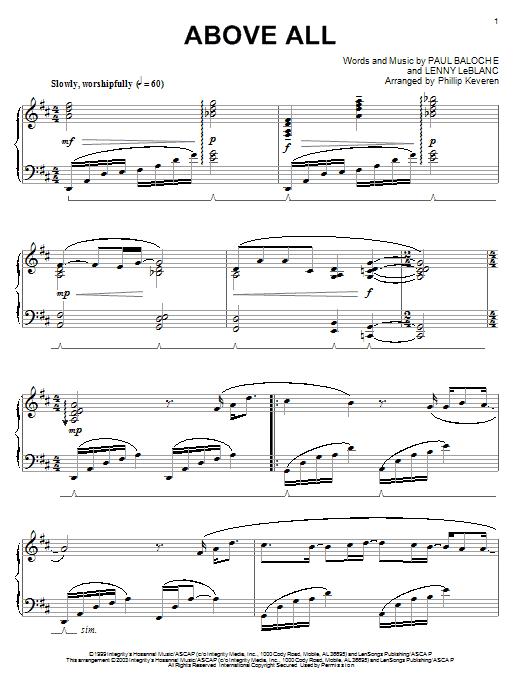 Partition piano Above All de Paul Baloche - Piano Solo