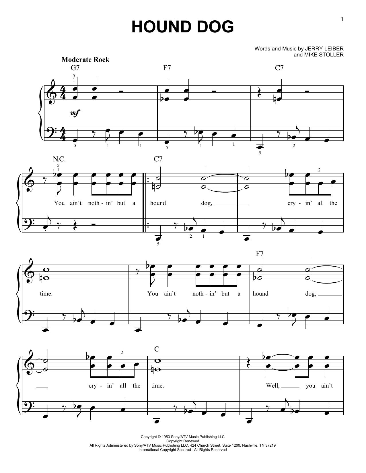 Partition piano Hound Dog de Elvis Presley - Piano Facile