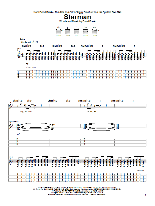 Tablature guitare Starman de David Bowie - Tablature Guitare