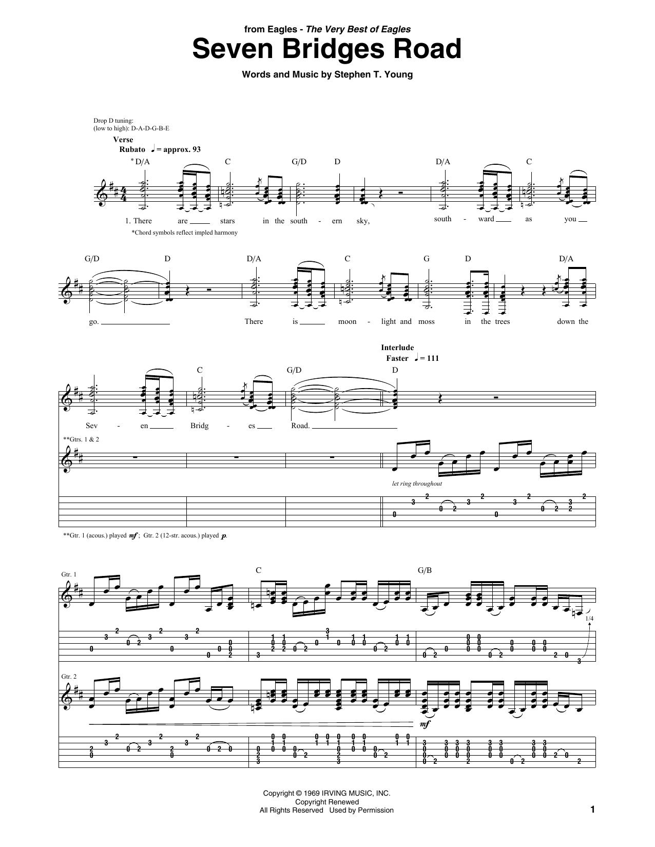 Tablature guitare Seven Bridges Road de The Eagles - Tablature Guitare