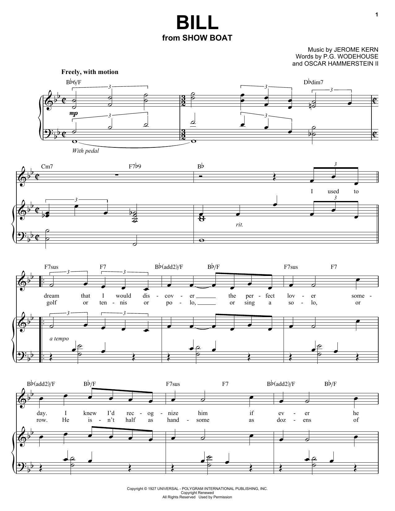 Partition piano Bill de Audra McDonald - Piano Voix Guitare (Mélodie Main Droite)