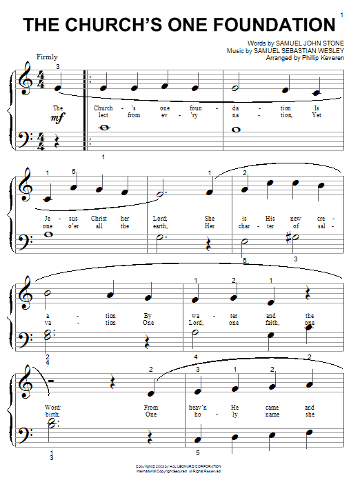 Partition piano The Church's One Foundation de Samuel John Stone - Piano Facile