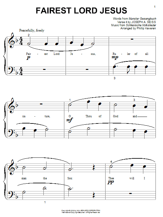 Partition piano Fairest Lord Jesus de Joseph August Seiss - Piano Facile