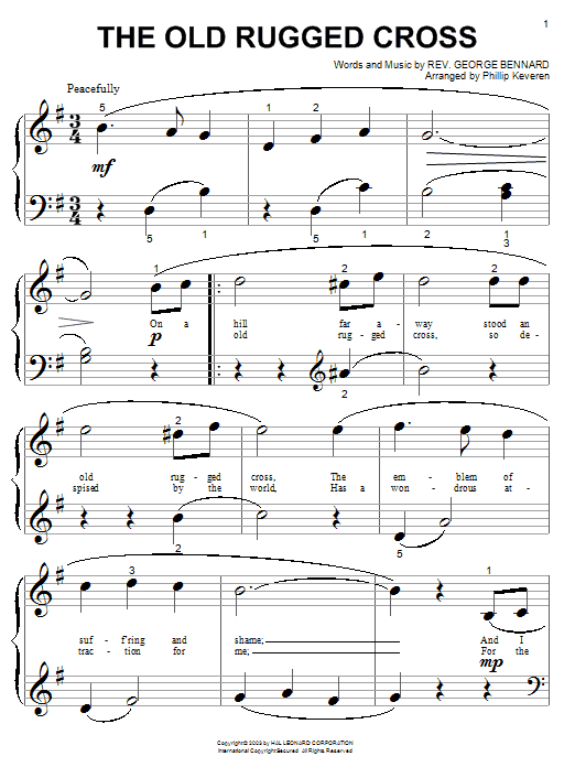 The Old Rugged Cross Sheet Music Direct