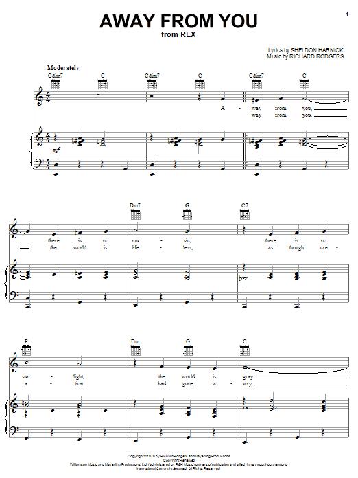 Partition piano Away From You de Sheldon Harnick - Piano Voix Guitare (Mélodie Main Droite)