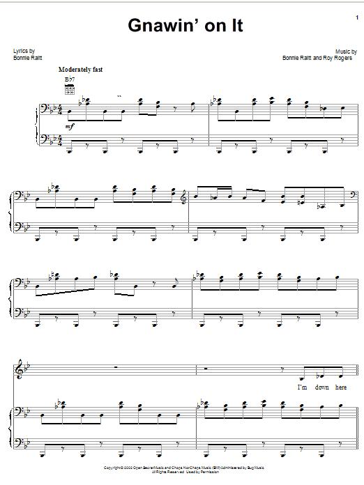 Partition piano Gnawin' On It de Bonnie Raitt - Piano Voix Guitare (Mélodie Main Droite)
