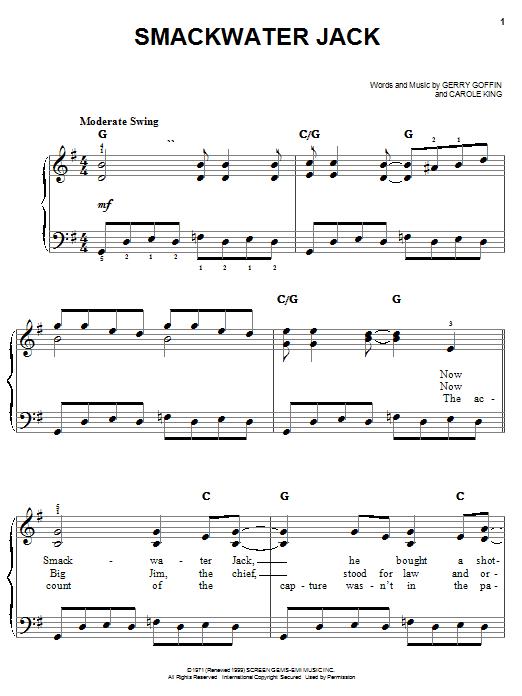 Partition piano Smackwater Jack de Carole King - Piano Facile