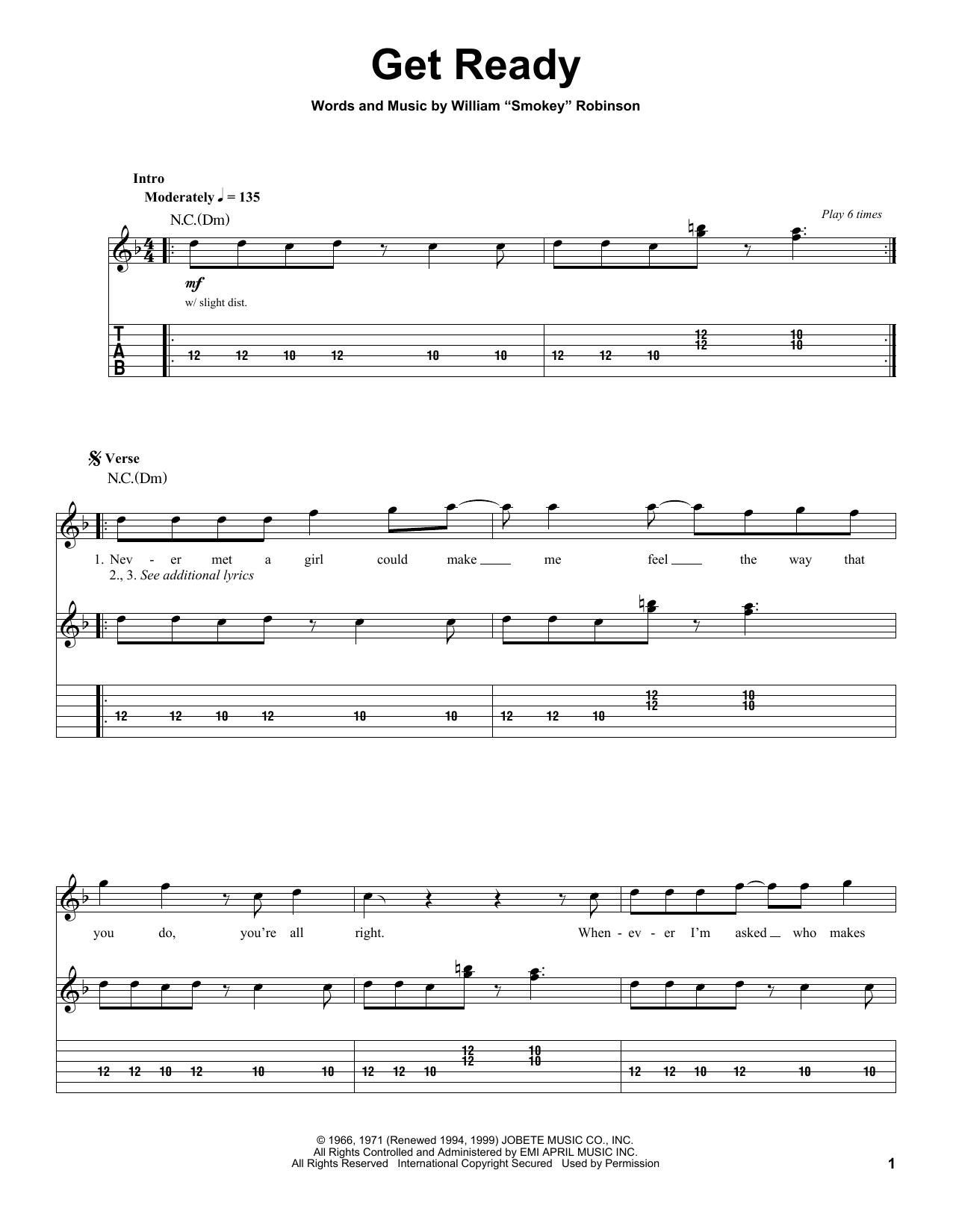 Tablature guitare Get Ready de Rare Earth - Tablature Guitare