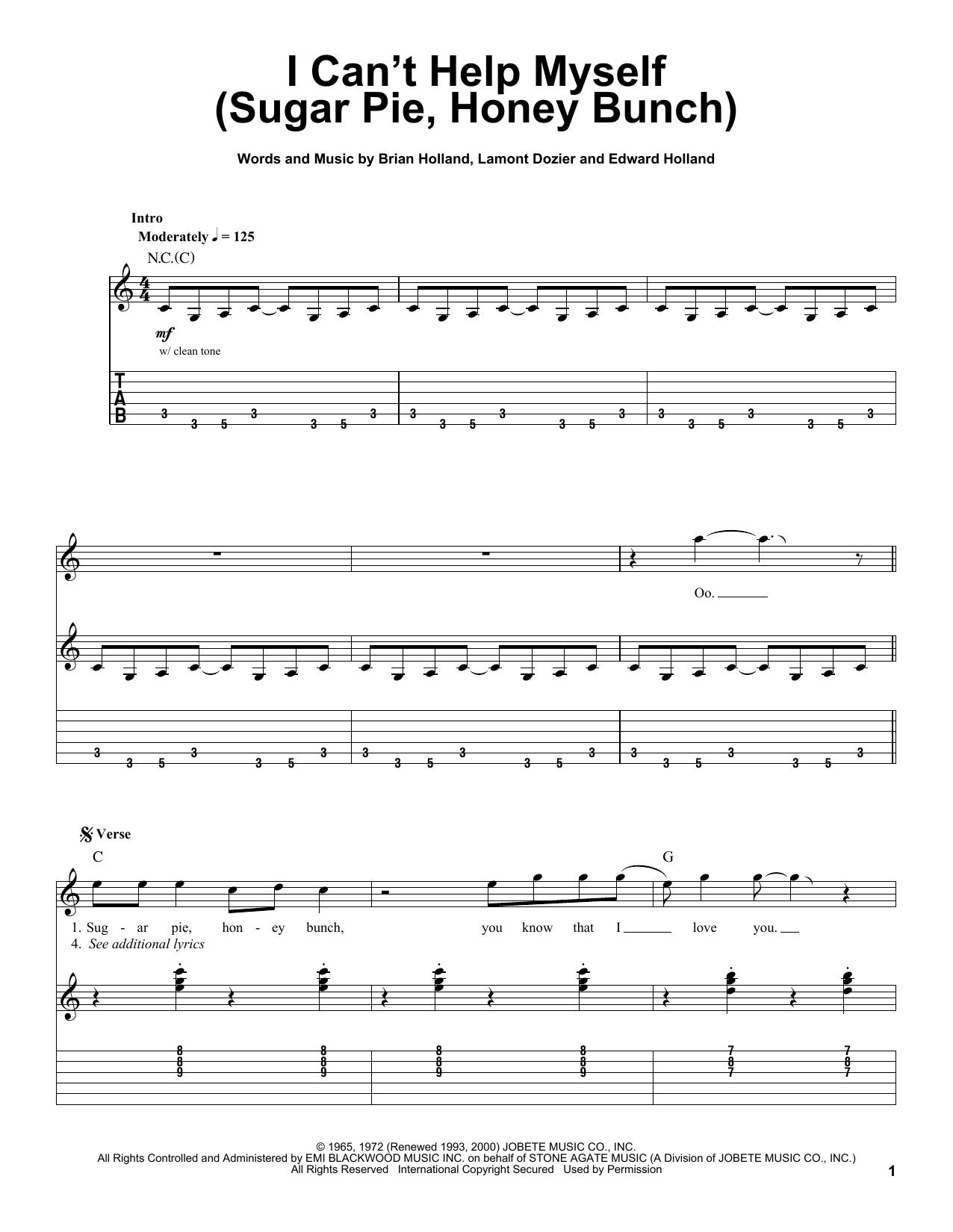 Tablature guitare I Can't Help Myself (Sugar Pie, Honey Bunch) de The Four Tops - Tablature Guitare