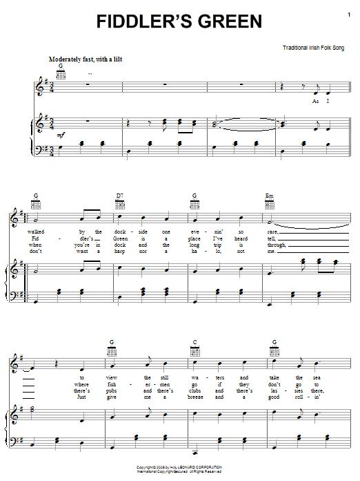 Partition piano Fiddler's Green de Traditional Irish Folk Song - Piano Voix Guitare (Mélodie Main Droite)
