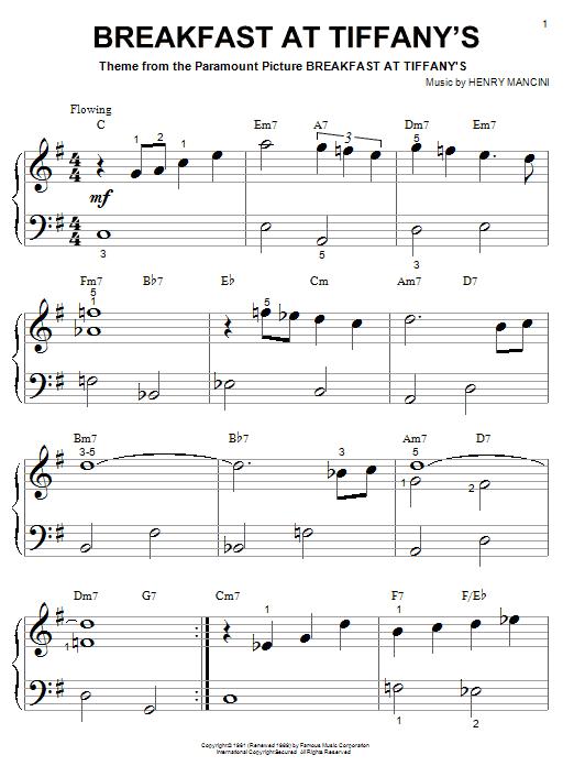 Partition piano Breakfast At Tiffany's de Henry Mancini - Piano Facile