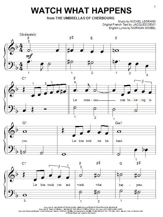 Partition piano Watch What Happens de Norman Gimbel - Piano Facile