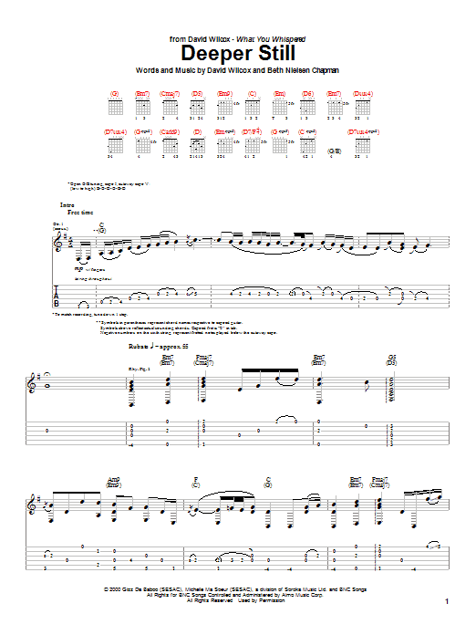 Tablature guitare Deeper Still de David Wilcox - Tablature Guitare