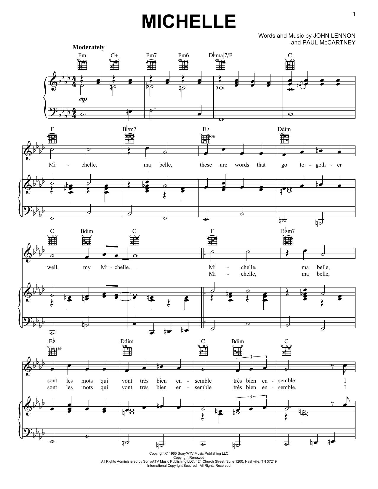 Partition piano Michelle de The Beatles - Piano Voix Guitare (Mélodie Main Droite)