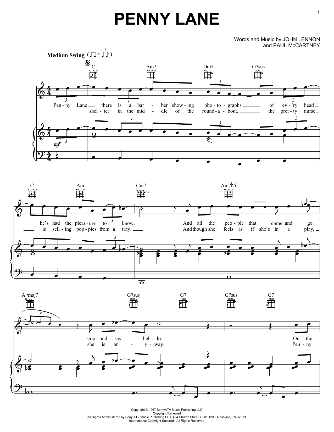 Partition piano Penny Lane de The Beatles - Piano Voix Guitare (Mélodie Main Droite)