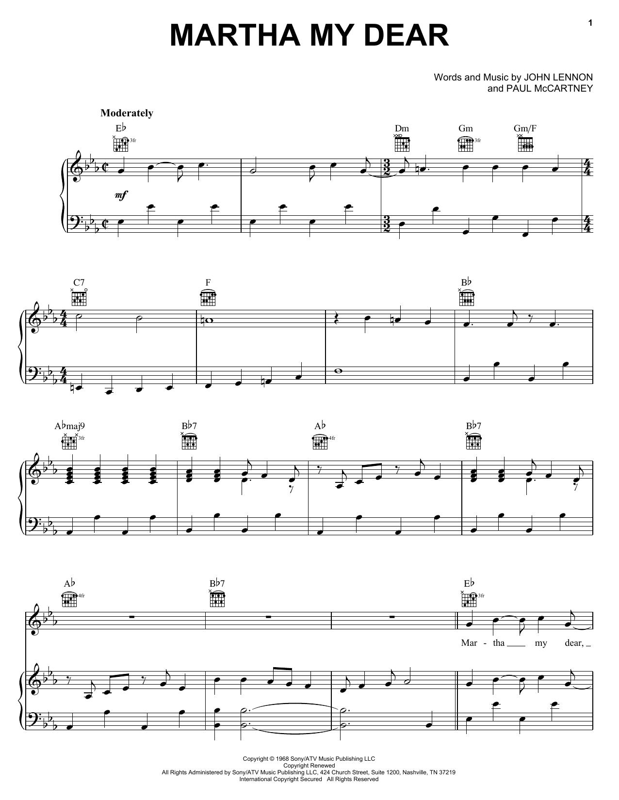 The beatles martha my dear lyrics