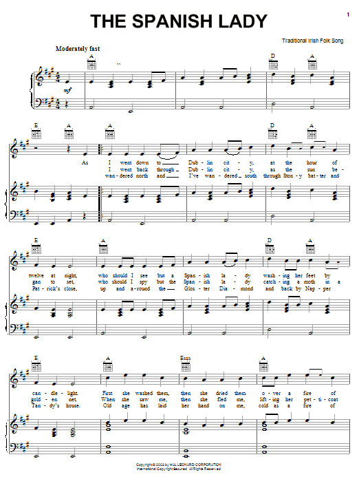 Partition piano The Spanish Lady de Traditional Irish Folk Song - Piano Voix Guitare (Mélodie Main Droite)