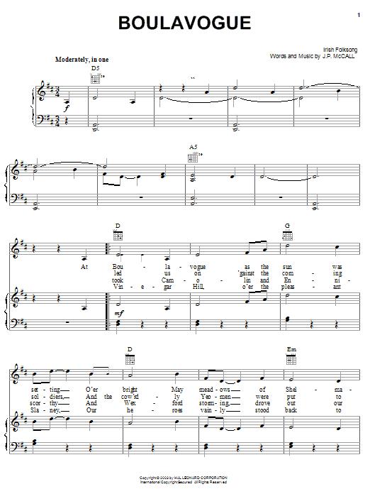 Partition piano Boulavogue de Irish Folksong - Piano Voix Guitare (Mélodie Main Droite)
