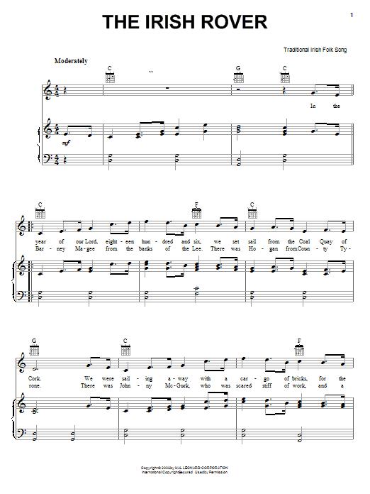 Partition piano The Irish Rover de Traditional Irish Folk Song - Piano Voix Guitare (Mélodie Main Droite)