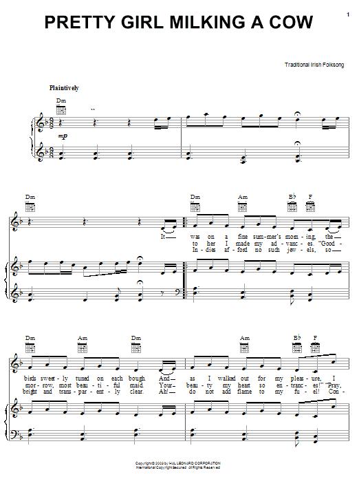 Partition piano Pretty Girl Milking A Cow de Traditional Irish Folk Song - Piano Voix Guitare (Mélodie Main Droite)