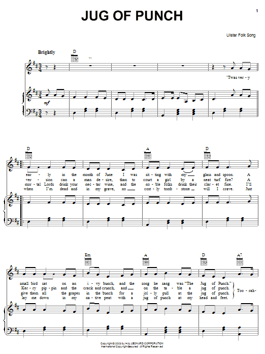 Partition piano Jug Of Punch de Ulster Folk Song - Piano Voix Guitare (Mélodie Main Droite)
