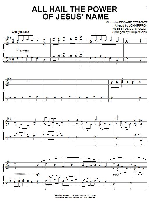 Partition piano All Hail The Power Of Jesus' Name de Edward Perronet - Piano Solo