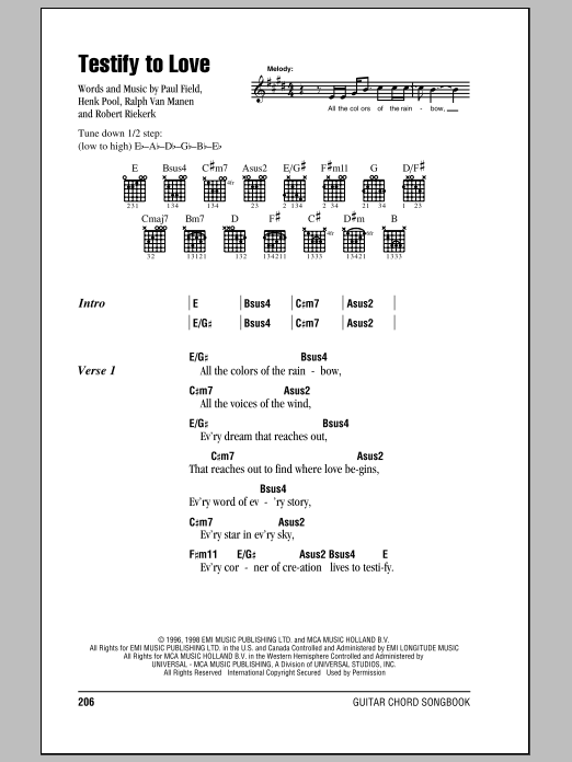 Testify To Love Sheet Music
