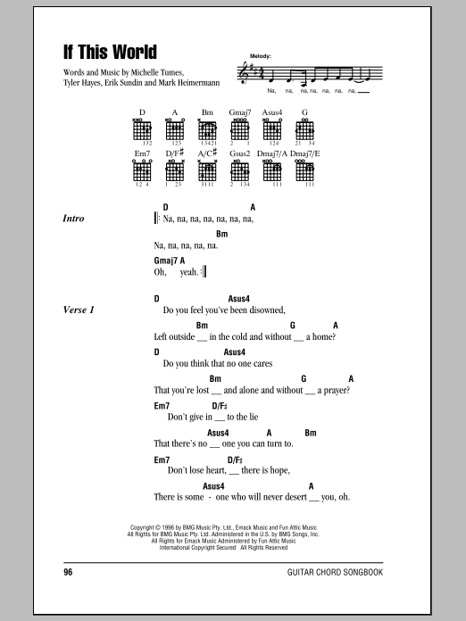 If This World sheet music for guitar solo (chords, lyrics, melody) by Tyler Hayes-Bieck