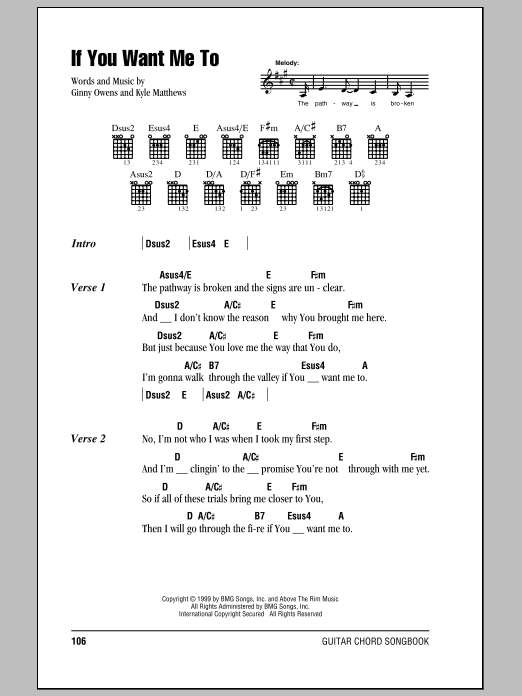 If You Want Me To sheet music for guitar solo (chords, lyrics, melody) by Kyle Matthews