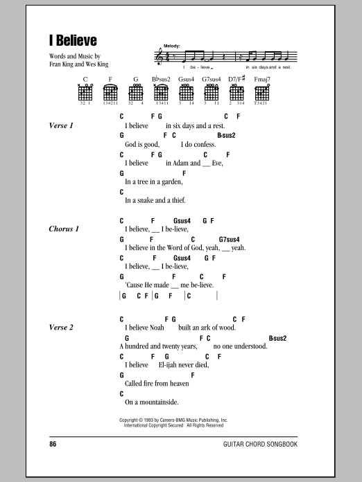 I Believe sheet music for guitar solo (chords, lyrics, melody) by Fran King