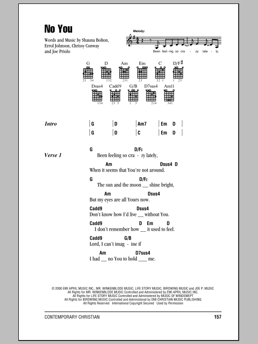 No You sheet music for guitar solo (chords, lyrics, melody) by Shauna Bolton